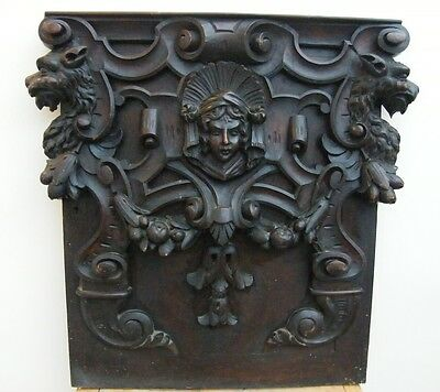 LARGE RECLAIMED ANTIQUE CARVED DOOR PLAQUE PANEL SIGN  c.1800