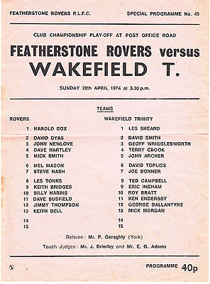 Featherstone Rovers v Wakefield 1973/4 (28 Apr) Champ Play-Off Sunday Teamsheet