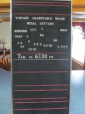 """VINTAGE CHANGEABLE BOARD SIGN.THE TABLET & TICKET CO. 24x12"""" / METAL LETTERS"""