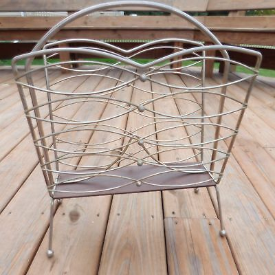 MAGAZINE RACK Mid Century Modern Metal and Wood Grain MCM