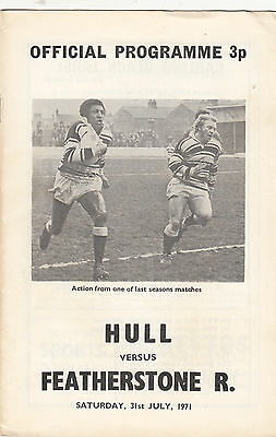 Hull FC v Featherstone Rovers 1971/2 (31 Jul) Yorkshire Cup