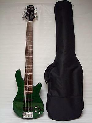 Quilted Green Maple New 6 String Electric Bass Guitar With Gig Bag