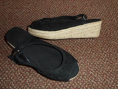 new Ladies / womens black lace wedge sandals size UK 4  - summer