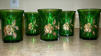 ANTIQUE  SET of FIVE GREEN TUMBLERS, GOOD CONDITION, QRIGINAL
