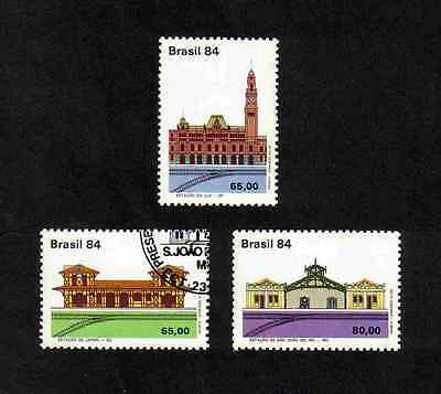 Brazil 1984 Railway Stations complete set of 3 values (SG 2095-2097) MNH & CTO u