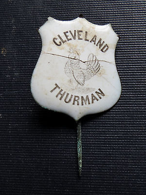 1888 CLEVELAND THURMAN ENAMEL CAMPAIGN PIN with ROOSTER - RARE