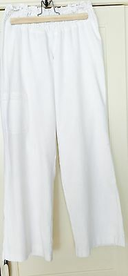 White Linen Wide Leg Maternity Trousers Size 14