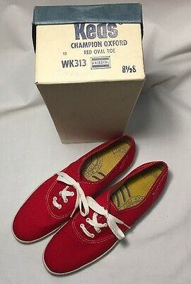 Vintage Keds Champion Oxford Canvas Shoes Women's Size 8.5 S Red New