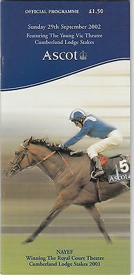 Racecard - Ascot 29th September 2002 Festival Sunday