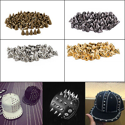 8mm 50pcs Brass Spike Punk Cone Studs Rivet with Pins for Leather Craft DIY Shoe