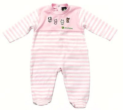 John Deere Babies Pink Girls Sleepsuit - Available in 3-6 Months & 18-24 Months
