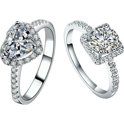 Women Exquisite White Sapphire 925 Sterling Silver Wedding Ring Jewelry Gift UK