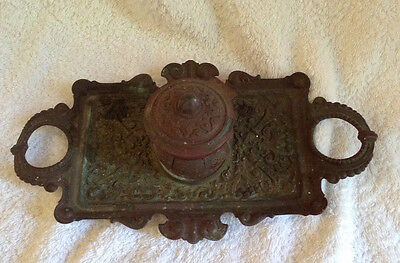 Antique metal bronze coloured ornate ink well