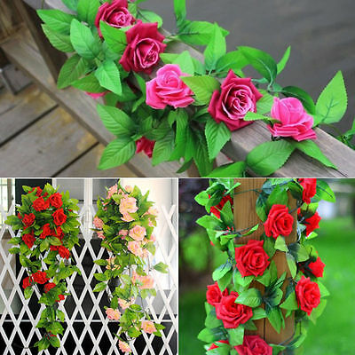 9 Heads Artificial Fake Silk Rose Flower Ivy Vine Hanging Garland Wedding Decor