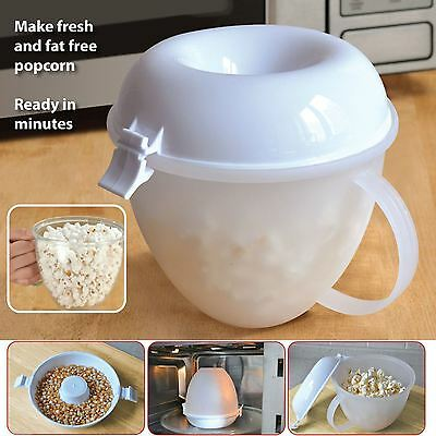 Popcorn Maker Serving Bowl Machine Microwave Cooker Fat Free No Oil Needed