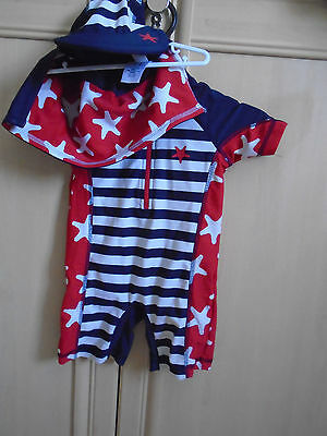 boys sunprotection all in 1 swim suit and cap age 9/12 months by NEXT