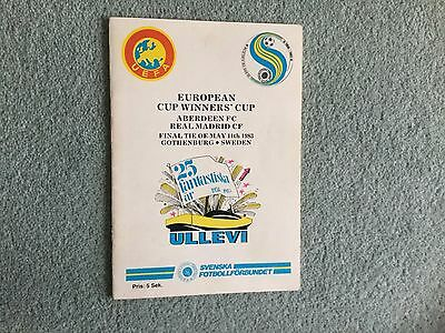 1983 Cup Winners Cup Final Aberdeen V Real Madrid Programme