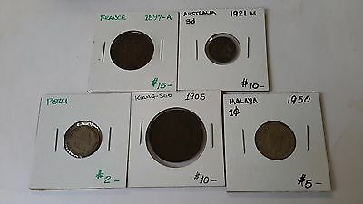 Lot Of 5 Misc. Foreign  Coins  (S642)