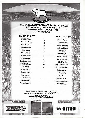Teamsheet - Derby County Reserves v Leicester City Reserves 2001/2