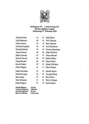Teamsheet - Darlington Reserves v Notts County Reserves 2004/5