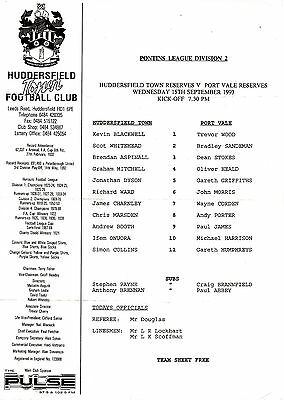 Teamsheet - Huddersfield Town Reserves v Port Vale Reserves 1993/4
