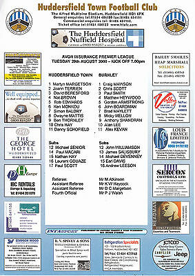 Teamsheet - Huddersfield Town Reserves v Burnley Reserves 2000/1