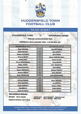 Teamsheet - Huddersfield Town Reserves v Rotherham United Reserves 1998/9