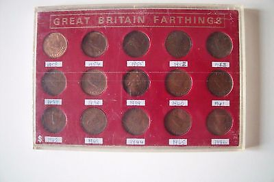 1937-1955 Farthing GB Coins in Display Case