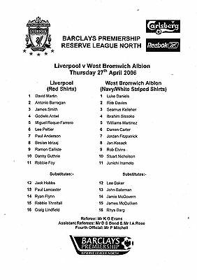 Teamsheet - Liverpool Reserves v West Bromwich Albion Reserves 2005/6