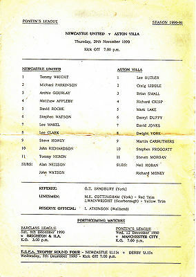 Teamsheet - Newcastle United Reserves v Aston Villa Reserves 1990/1