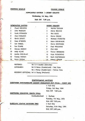 Teamsheet - Newcastle United Reserves v Derby County Reserves 1990/1