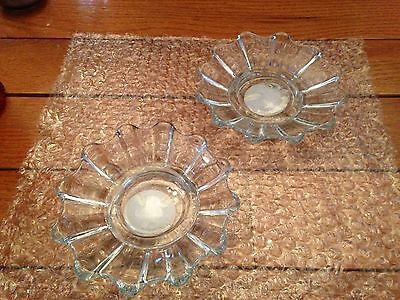 Vintage Indiana Glass Set of 2 Clear Glass Candle Holders ICG #06193