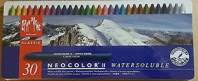 CARAN D'ACHE NEOCOLOR ll set of 30 Water-soluble wax pastels NEW / SEALED