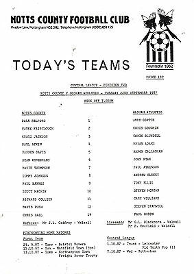 Teamsheet - Notts County Reserves v Oldham Athletic Reserves 1987/8