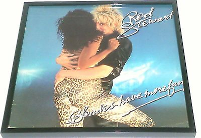 ROD STEWART - framed album cover - BLONDES HAVE MORE FUN - framed LP cover