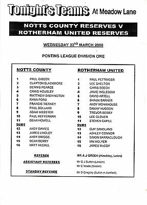 Teamsheet - Notts County Reserves v Rotherham United Reserves 1999/2000