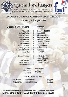 Teamsheet - QPR Reserves v Barnet Reserves 2002/3