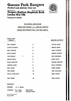 Teamsheet - QPR Reserves v Charlton Athletic Reserves 1987/8