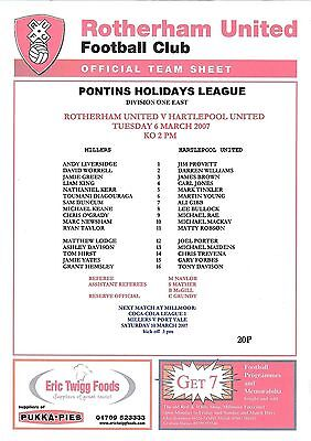 Teamsheet - Rotherham United Reserves v Hartlepool United Reserves 2006/7