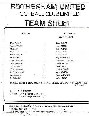 Teamsheet - Rotherham United Reserves v Wigan Athletic Reserves 1988/9