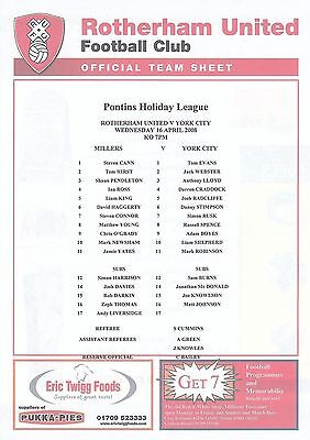 Teamsheet - Rotherham United Reserves v York City Reserves 2007/8