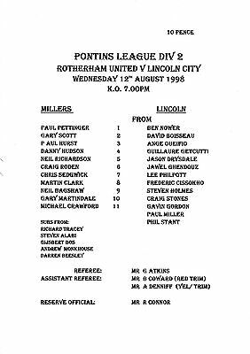 Teamsheet - Rotherham United Reserves v Lincoln City Reserves 1998/9