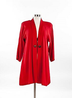 RARE Vintage 80s  RED LONG SWING CARDIGAN Jacket ornate buttons S