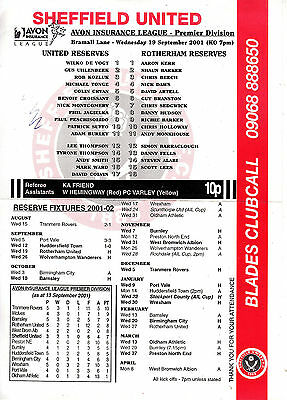 Teamsheet - Sheffield United Reserves v Rotherham United Reserves 2001/2