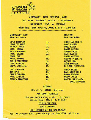 Teamsheet - Shrewsbury Town Reserves v Walsall Reserves 2000/1