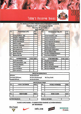 Teamsheet - Sunderland Reserves v Birmingham City Reserves 2002/3