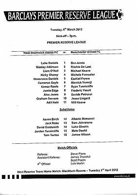 Teamsheet - West Bromwich Albion Reserves v Manchester United Reserves 2011/12