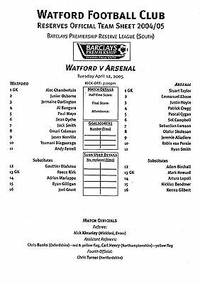 Teamsheet - Watford Reserves v Arsenal Reserves 2004/5