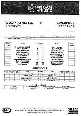 Teamsheet - Wigan Athletic Reserves v Liverpool Reserves 2005/6