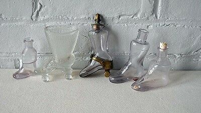 5 Vintage Antique Clear Glass Candy Perfume Container Dispenser Boot Toy Bottle
